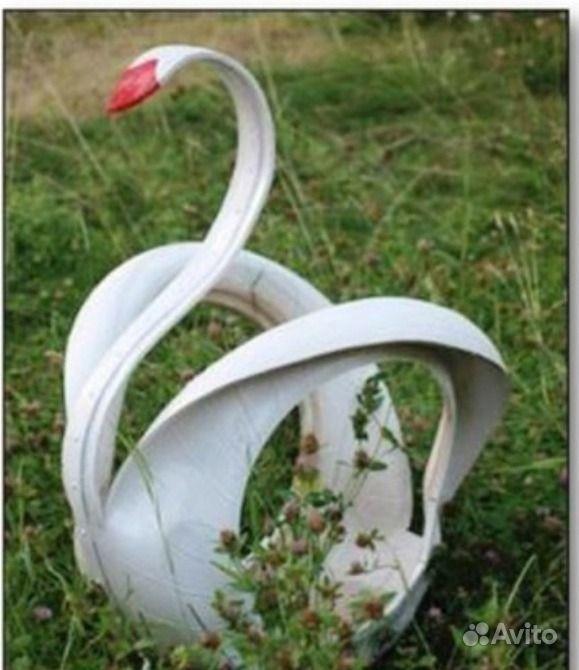 Как сделать лебедей из покрышек фото