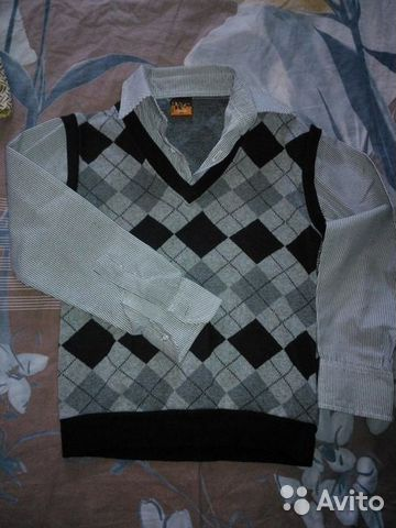 Джемпер с рубашкой (обманка) 89044771948 купить 1