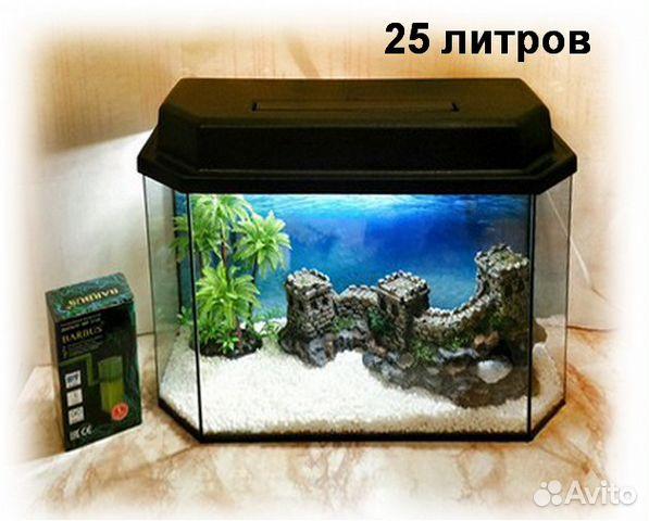 Аквариум прямоугольный телевизор 25 - 60 литров (аквариум и крышка)