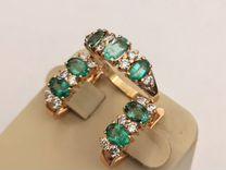 Золотой комплект с бриллиантами и изумрудами