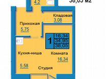 Квартира-студия, 38,1м², 2/9эт.