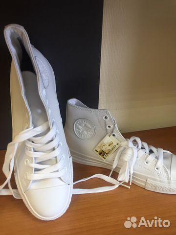 Кеды Converse (Конверс) белые высокие кожаные купить в Новосибирской ... ec8dcb97d86a2