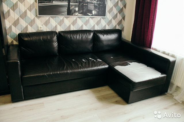 Угловой диван кровать с козеткой из экокожи Икея   Festima.Ru ... 7efaebc7dba