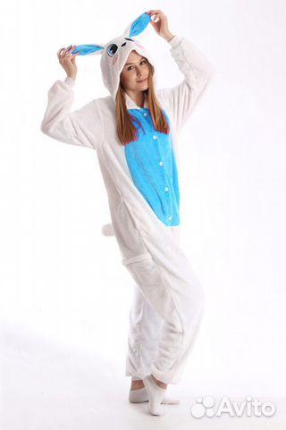Кигуруми зайчик голубой на рост 140-158 см  b9af81f797c01