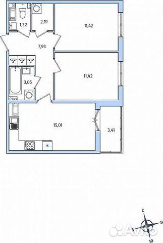 2-к квартира, 54.5 м², 5/10 эт.
