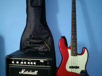 Бас гитара Fernandes RJ380 Blk/R. Комбик Marshall