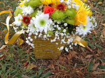 Цветы, композиция из розы и хризантемы