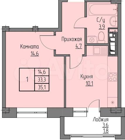 1-к. квартира, 35,1 м, 4/9 эт.